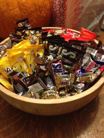 This was my candy bowl at 2:59p that day. All filled with sugar and full-sized bars and optimism. I ran out of all three of those things at 4:45p.