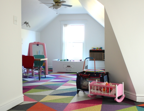 I love how bright and fun this looks. It's better (to me) than some of the local indoor playspaces! I'm so glad we did the Flor carpet tiles.